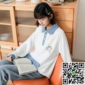 復古polo衫寬鬆大碼上衣女長袖日系衛衣秋【風之海】