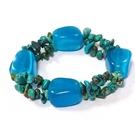 天然松石碎片與藍色貓眼石不定形彈性手環
