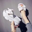 增高拖鞋 高跟涼拖鞋女夏季增高外穿新款時尚花朵鬆糕蝴蝶結拖鞋-Ballet朵朵