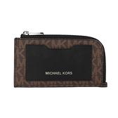 Michael Kors Gifting 滿版MK拼接皮革L型拉鍊卡夾零錢包(咖啡黑)