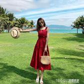 夏裝新款韓版背帶漏肩露背小紅裙中長款收腰吊帶連身裙度假裙 溫暖享家