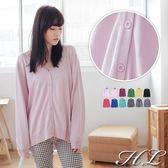 ‧HL超大尺碼‧【14081012】糖果系列V領素色針織罩衫外套 12色