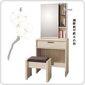 【水晶晶家具/傢俱首選】柏納德2 尺白橡低甲醛木心板開門鏡台﹝含椅﹞ ZX8108-6