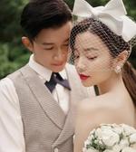 日韓式甜美新娘三層白色綢緞蝴蝶結頭飾大目網紗發飾發夾婚紗拍照 BASIC HOME