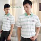 【大盤大】(P37108) 男 口袋上衣 短袖POLO衫 台灣製條紋休閒衫 繡花款 夏裝 網眼 禮物【剩M號】