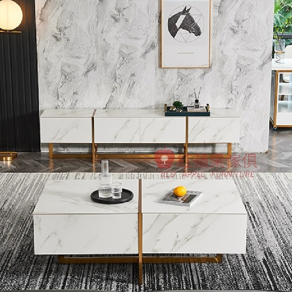 [紅蘋果傢俱] 現代 簡約 輕奢風W-MS-815茶几電視櫃 組合 套裝 茶桌 地櫃 岩板 不鏽鋼 客廳