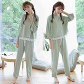 韓國睡衣女純棉長袖寬鬆大碼純色小清少女家居服套裝   居家物語