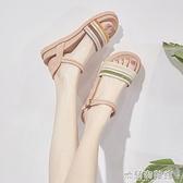 高跟涼鞋 新款夏季一字扣涼鞋女仙女風平底學生厚底羅馬沙灘溫柔鞋 快速出貨