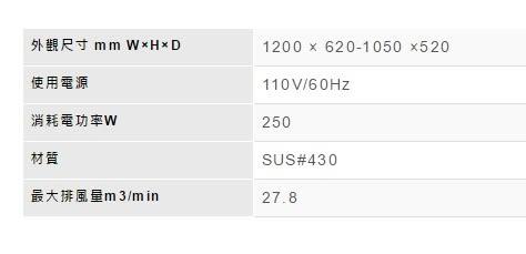 【歐雅系統家具】林內 Rinnai 全直流變頻雙倒T式排油煙機 RH-1273(120CM)(已停產)