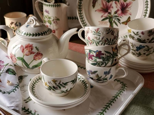 (贈托盤) 英國Portmeirion-Botanic Garden 經典植物園系列-雙人下午茶組(兩杯一壺)