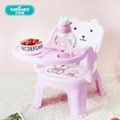 兒童餐椅帶餐盤寶寶吃飯桌兒童椅子餐桌靠背叫叫椅寶寶塑膠小凳子ATF 三角衣櫃