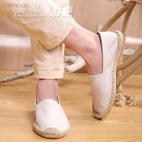 編織鞋老北京布鞋男草編亞麻布鞋防臭懶人輕便一腳蹬中國風青年帆布鞋男 快速出貨