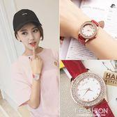 韓國手錶女學生韓版潮流時尚水鑽防水石英錶真皮帶時裝錶女錶 Ifashion