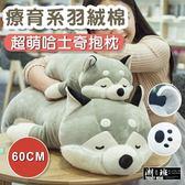 『潮段班』【VR000B11】60CM超萌羽絨棉哈士奇趴趴狗抱枕靠枕毛絨玩具布偶小狗公仔娃娃