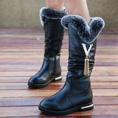 兒童女童高靴子高筒靴公主洋氣百搭長筒靴女冬季加絨中大2018新款『櫻花小屋』