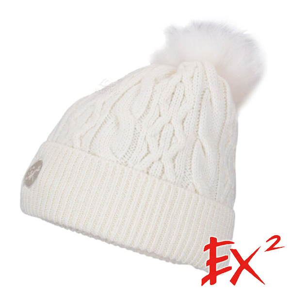 【 EX2 】針織保暖圓帽『象牙白』366102 戶外.針織帽.造型帽.毛帽.帽子.禦寒.防寒.保暖