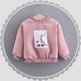 女童上衣 潮童裝女童連帽T恤加厚加絨兒童衣服嬰兒女寶寶冬裝保暖絨衫上衣韓版 探索先鋒