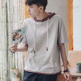 夏季男士短袖T恤正韓連帽五分袖衛衣個性潮流學生半袖體恤七分袖三角衣櫥