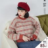 毛衣 滿版撞色方格圖案柔軟彈性毛線織上衣-BAi白媽媽【302066】