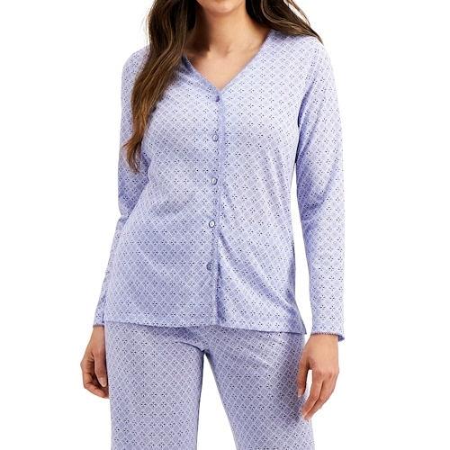 Charter 棉質針織睡衣長褲套裝(藍色花)