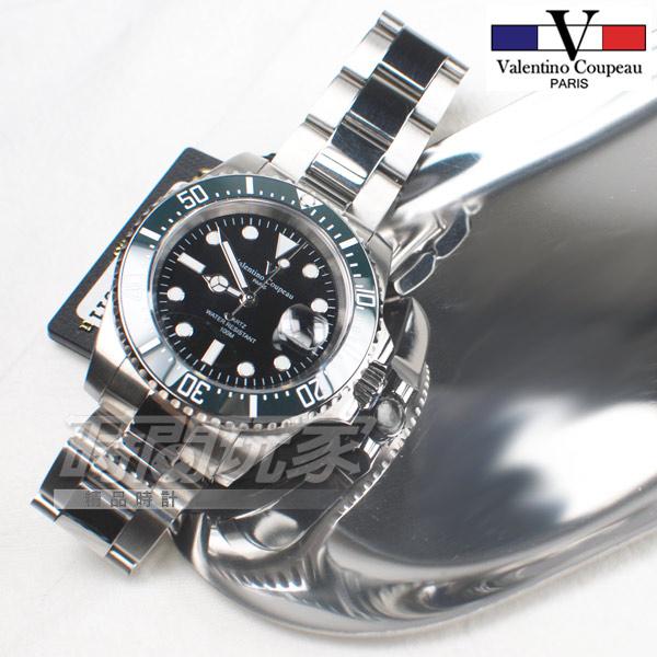valentino coupeau 范倫鐵諾 夜光 不銹鋼 防水手錶 男錶 黑色面盤 潛水錶 綠水鬼 石英錶 V61589綠框黑