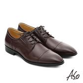 A.S.O 職人通勤 簡約全真皮綁帶紳士皮鞋  咖啡