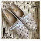 女鞋卡其色休閒鞋 洞洞雷射面 運動鞋底 輕量鞋 跟涼鞋一樣透氣 全真皮 台灣製 LaoMeDea