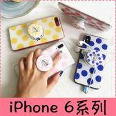 【萌萌噠】iPhone 6 6S plus 文藝小清新 英文波點保護殼 同款創意氣囊支架 全包防摔軟殼 手機殼