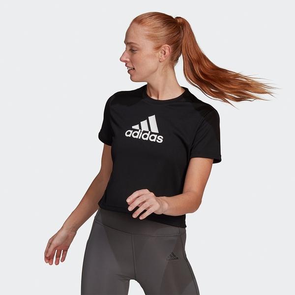 Adidas AEROREADY 女裝 短袖 T恤 休閒 短版 吸濕排汗 黑【運動世界】GL3830
