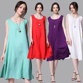 大尺碼洋裝 棉質長款氣質無袖寬鬆連衣裙 6色 XL-4XL #jr7360 ❤卡樂❤