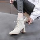 馬丁靴女2020年新款秋冬季英倫風百搭瘦瘦短靴子粗跟高跟鞋米白色 後街五號