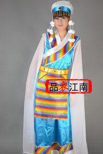 品衣江南/藍色女藏族舞蹈服裝/MZ007