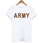 【Dirty Sweet】ARMY-leo Tee潮流短袖棉質T恤-白色 陸軍豹紋美國棉390 gildan
