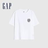 Gap男童 Logo純棉圓領短袖T恤 822440-白色