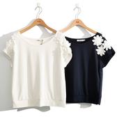 早秋上市[H2O]立體花朵裝飾法式連袖上衣 - 藍/白色 #0651005