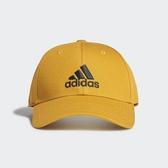 ADIDAS 棒球帽 鵝黃 刺繡黑 三線 老帽 鴨舌帽 基本款 (布魯克林) GE0633
