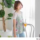 《AB3414》滿版花朵圖案V領口綴蕾絲...