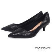Tino Bellini 巴西進口自然立體蛇紋尖楦跟鞋 _ 黑 B79218C 歐洲進口款
