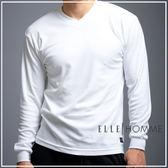 ELLE HOMME棉質混紡V領長袖衫/男內衣-白《超值二件組》【中揚精品】E6128