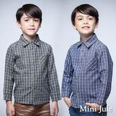 Mini Jule男童 上衣 細格紋單口袋雙色釦襯衫(共2色)