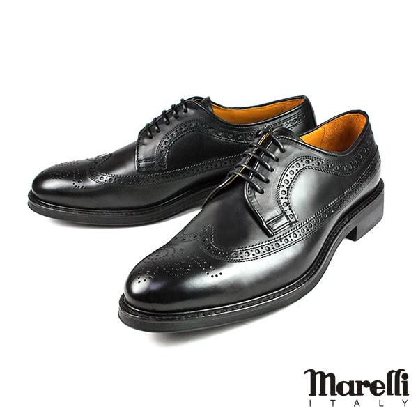 【Marelli】經典翼紋雕花紳士鞋 黑色(2120-BL)