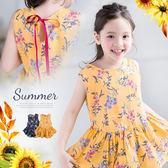 夏姿花朵後綁帶傘狀棉麻上衣(250789)★水娃娃時尚童裝★