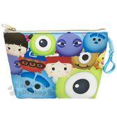 〔小禮堂〕迪士尼 TsumTsum 船形皮質票卡化妝包《藍.大臉》萬用包.收納包.筆袋 4713549-70091
