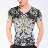 短袖T恤男 韓版潮流 休閒上衣 夏季歐美風緊身時尚迷彩 修身短袖印花燙金T恤wx3414