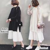 漂亮小媽咪 韓系洋裝 【D8320】 長袖 寬鬆 加大 假兩件 拼接 荷葉洋裝 魚尾洋裝 孕婦裝