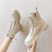 馬丁靴 白色馬丁靴女英倫風休閒小短靴女2021秋季新款韓版網紅瘦瘦靴【快速出貨八折優惠】