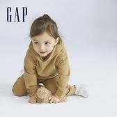 Gap男幼童 簡約風素色運動連帽休閒上衣 747179-淺咖色