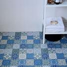 地板卷材  耐磨捲材  藍色墨洛哥花磚紋 客廳 廚房 門市 展示廳用 SS-3321
