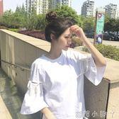 長袖T恤新款百搭純色套頭寬鬆顯瘦喇叭袖繫帶打底上衣女學生 蘿莉小腳ㄚ