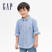 Gap男幼童 牛津紡領尖紐扣長袖襯衫 911790-天藍色